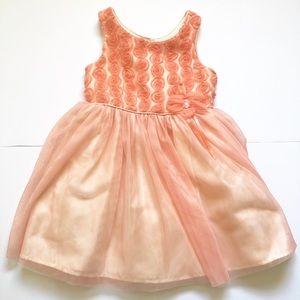 Peach Flower Tulle Girls Dress, Size 5